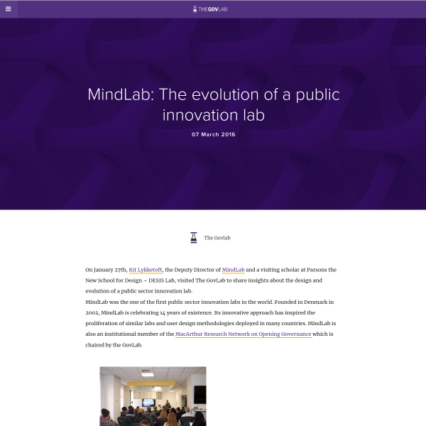 MindLab: The evolution of a public innovation lab - The Governance Lab @ NYU