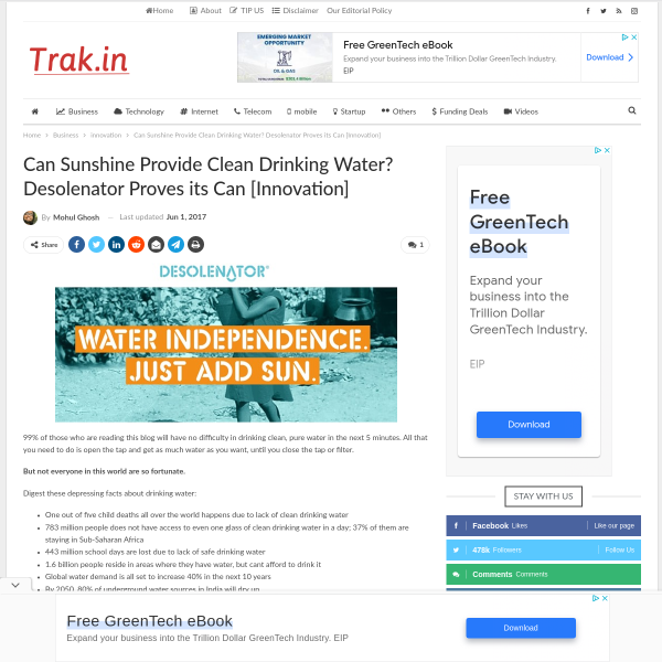 Can Sunshine Provide Clean Drinking Water? Desolenator Proves its Can [Innovation]