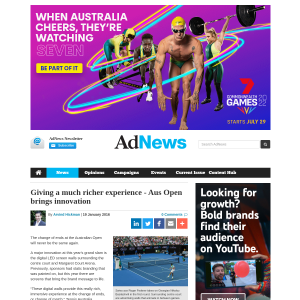 Giving a much richer experience - Aus Open brings innovation - AdNews