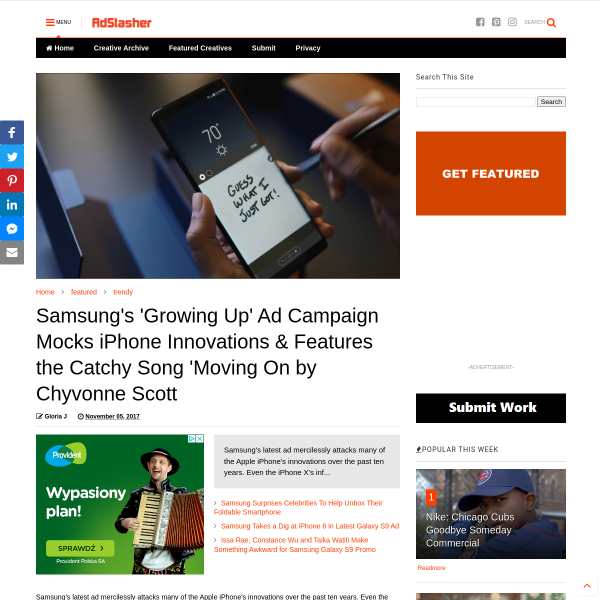 Samsung's 'Growing Up' Ad Campaign Mocks iPhone Innovations & Features the Catchy Song 'Moving On by Chyvonne Scott