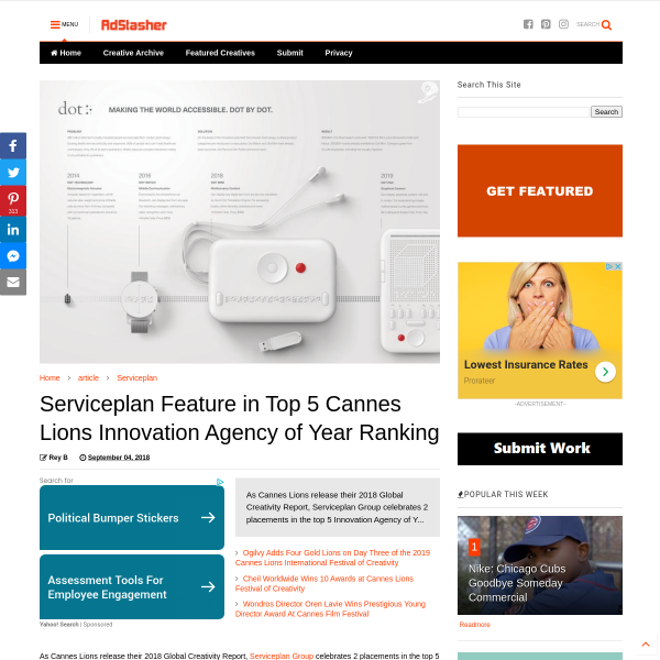 Serviceplan Feature in Top 5 Cannes Lions Innovation Agency of Year Ranking