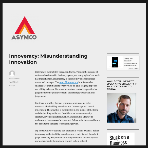 Innoveracy: Misunderstanding Innovation