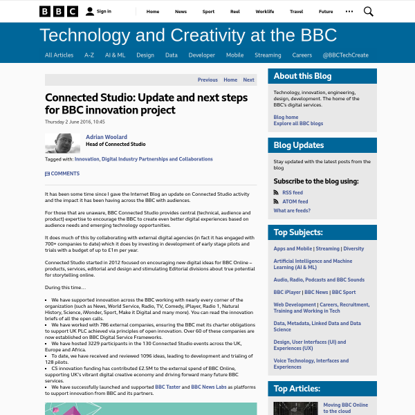 Connected Studio: Update and next steps for BBC innovation project