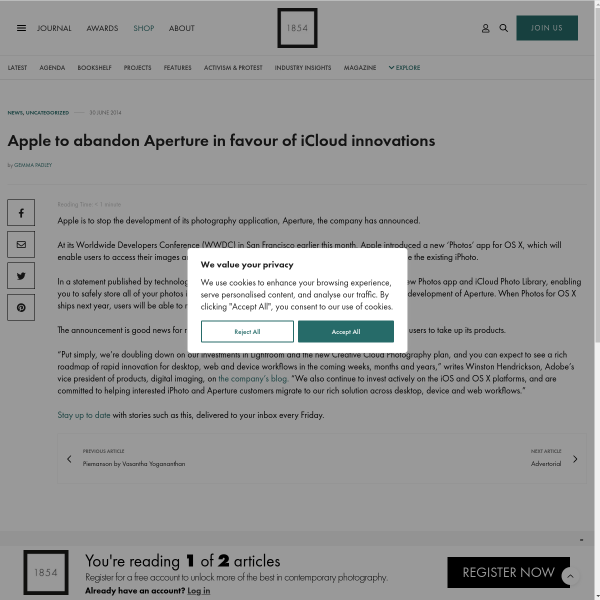Apple to abandon Aperture in favour of iCloud innovations