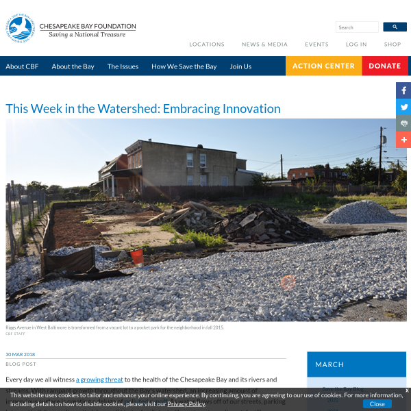 This Week in the Watershed: Embracing Innovation