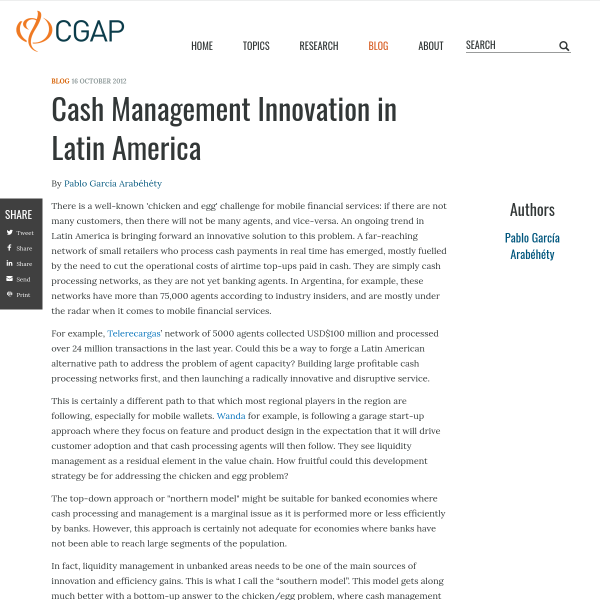 Cash Management Innovation in Latin America