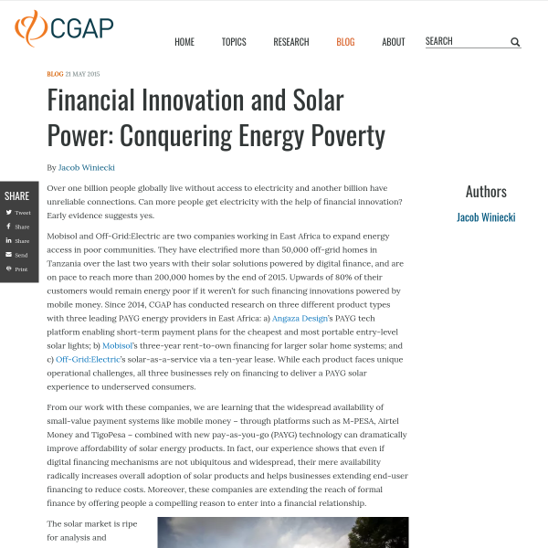 Financial Innovation and Solar Power: Conquering Energy Poverty