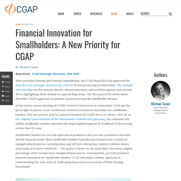 Financial Innovation for Smallholders: A New Priority for CGAP