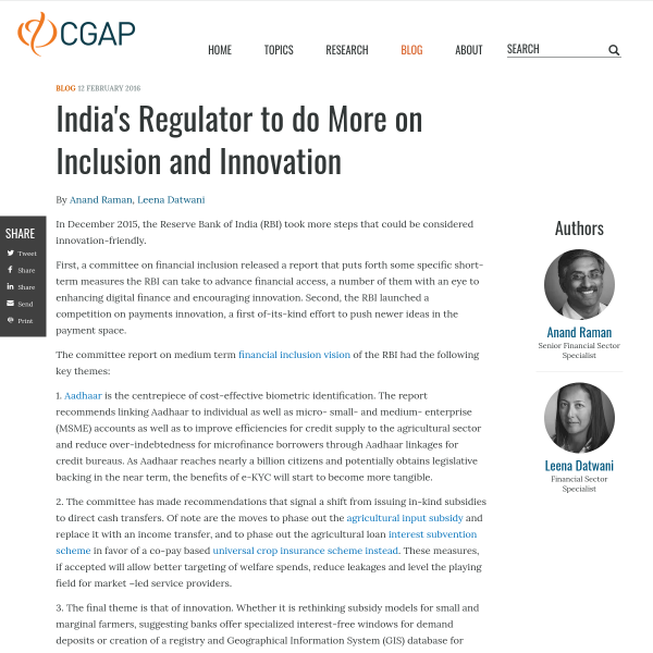 India's Regulator to do More on Inclusion and Innovation