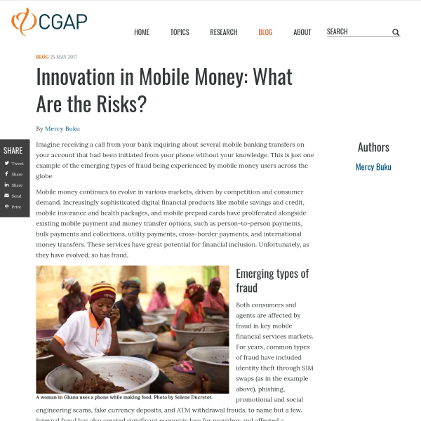 Innovation in Mobile Money: What Are the Risks?