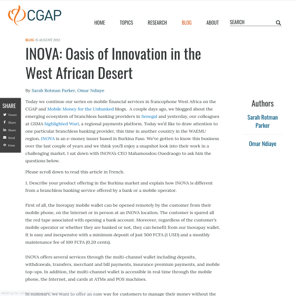 INOVA: Oasis of Innovation in the West African Desert