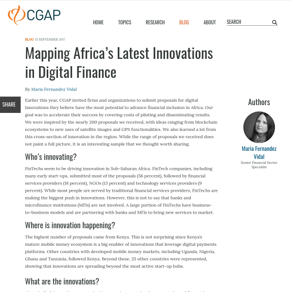 Mapping Africa's Latest Innovations in Digital Finance