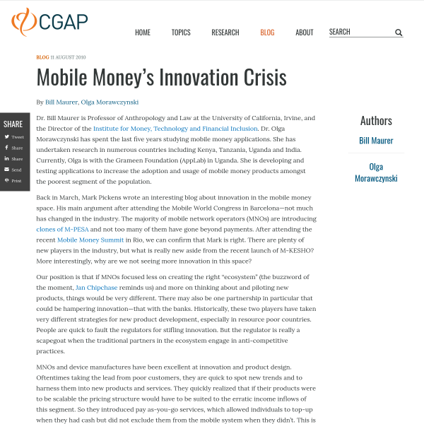 Mobile Money's Innovation Crisis