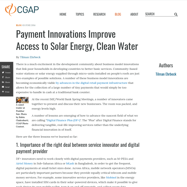 Payment Innovations Improve Access to Solar Energy, Clean Water