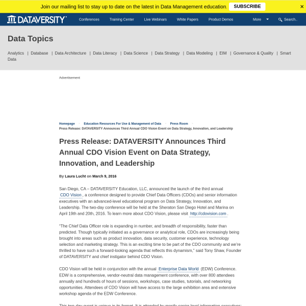 Press Release: DATAVERSITY Announces Third Annual CDO Vision Event on Data Strategy, Innovation, and Leadership - DATAVERSITY