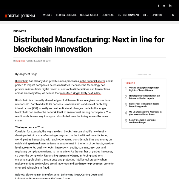 Distributed Manufacturing: Next in line for blockchain innovation