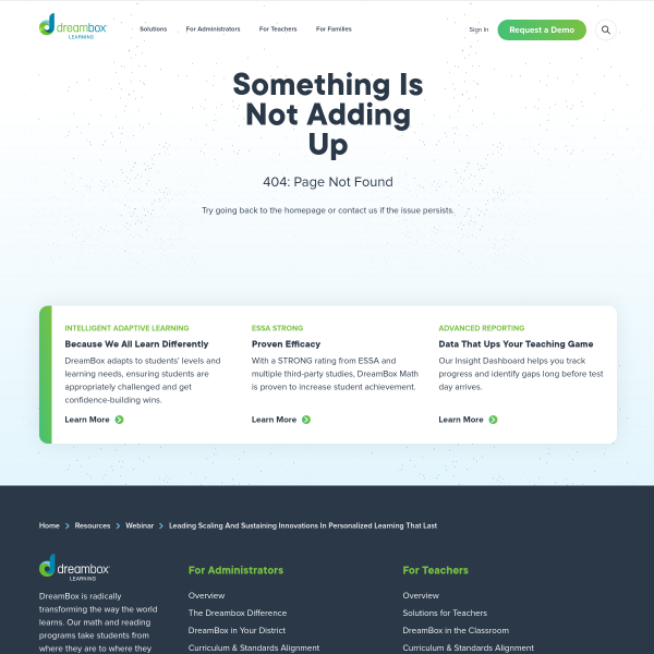 Leading, Scaling, and Sustaining Innovations in Personalized Learning That Last - DreamBox Learning