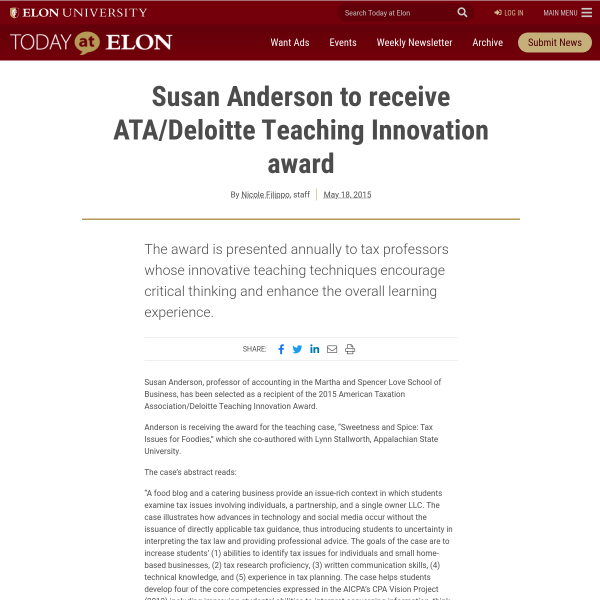 Susan Anderson to receive ATA/Deloitte Teaching Innovation award
