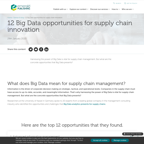 12 Big Data opportunities for supply chain innovation