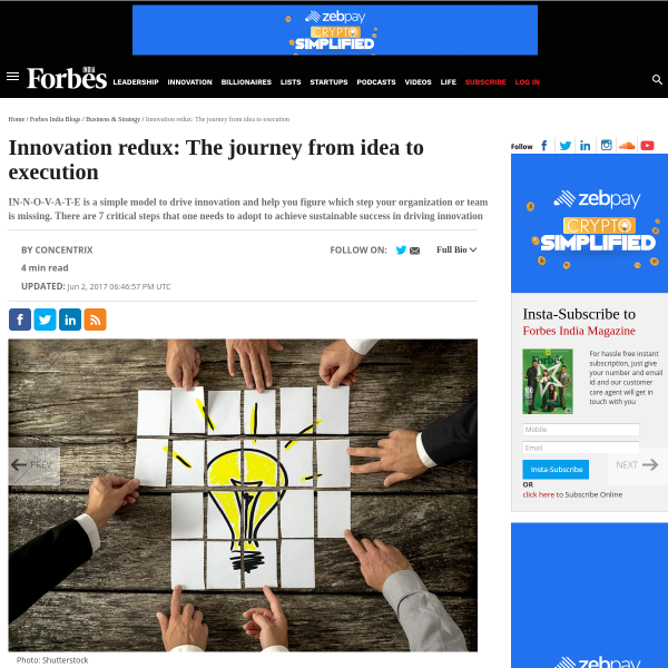 Innovation redux: The journey from idea to execution - Forbes India Blog
