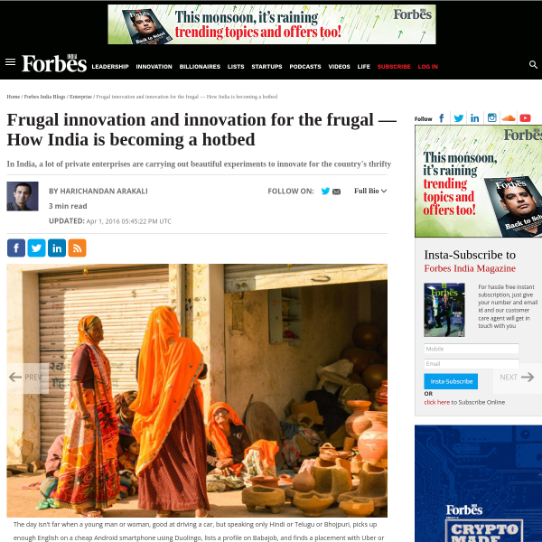Frugal innovation and innovation for the frugal — How India is becoming a hotbed - Forbes India Blog
