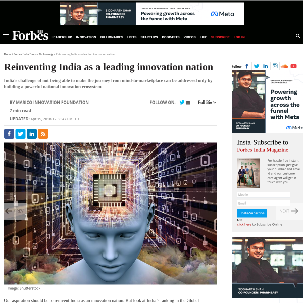 Reinventing India as a leading innovation nation - Forbes India Blog
