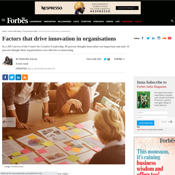 Factors that drive innovation in organisations - Forbes India Blog