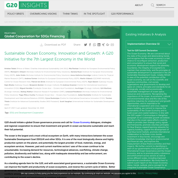 Sustainable Ocean Economy, Innovation and Growth: A G20 Initiative for the 7th Largest Economy in the World