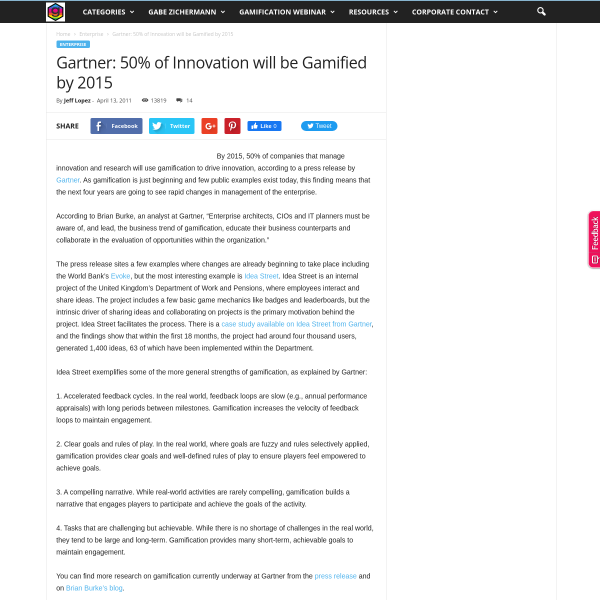 Gartner: 50% of Innovation will be Gamified by 2015 - Gamification Co