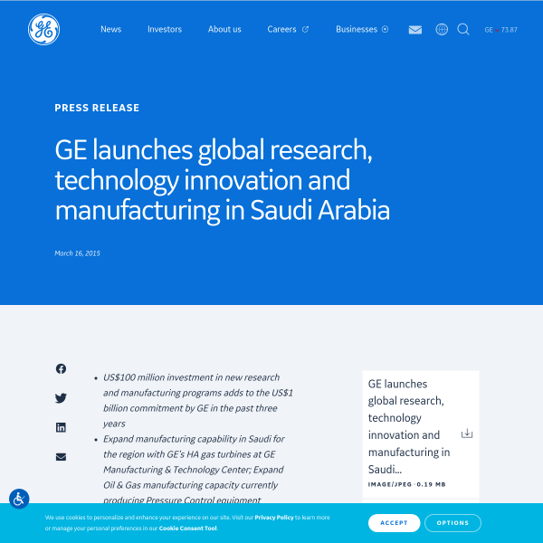 GE launches global research, technology innovation and manufacturing in Saudi Arabia
