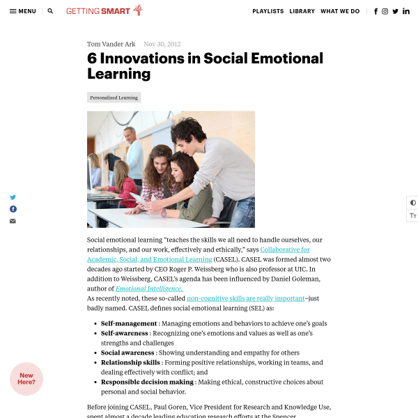 6 Innovations in Social Emotional Learning - Getting Smart