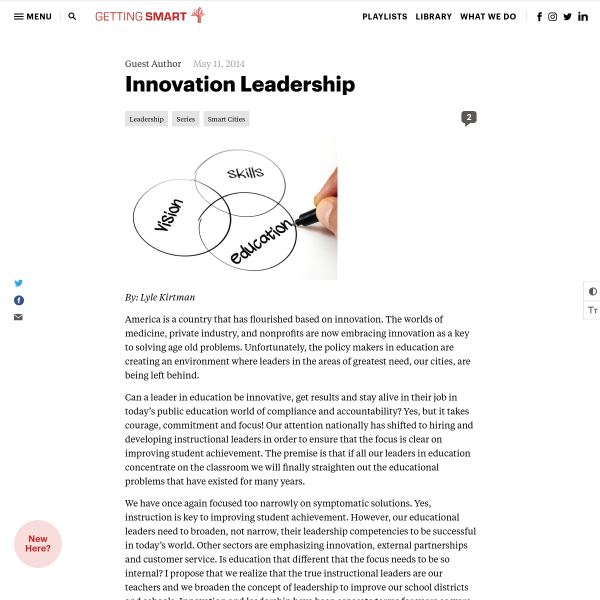 Innovation Leadership - Getting Smart by Guest Author - edleadership, Innovation