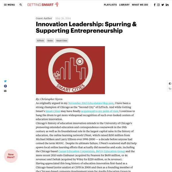 Innovation Leadership: Spurring & Supporting Entrepreneurship - Getting Smart by Guest Author - EdTech, edtech startups