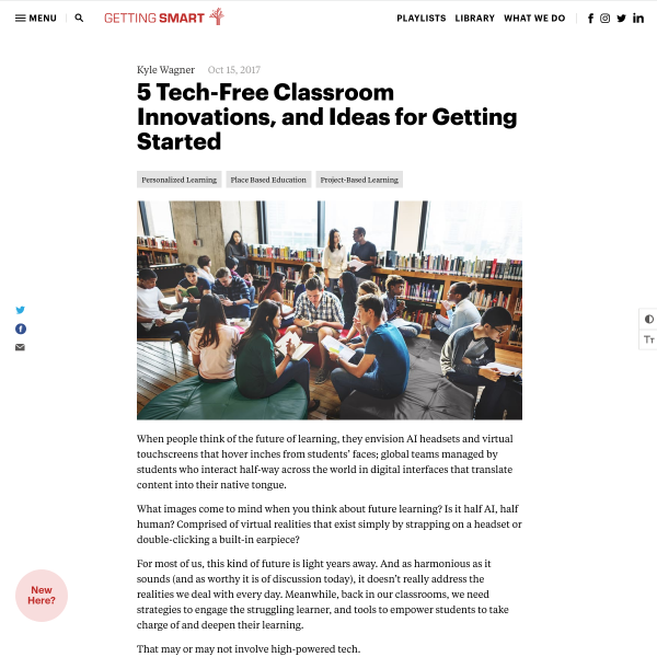 5 Tech-Free Classroom Innovations, and Ideas for Getting Started