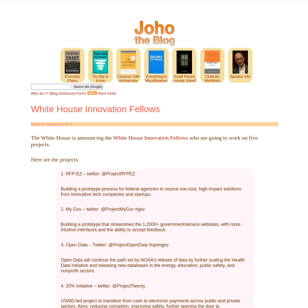 White House Innovation Fellows - Joho the Blog
