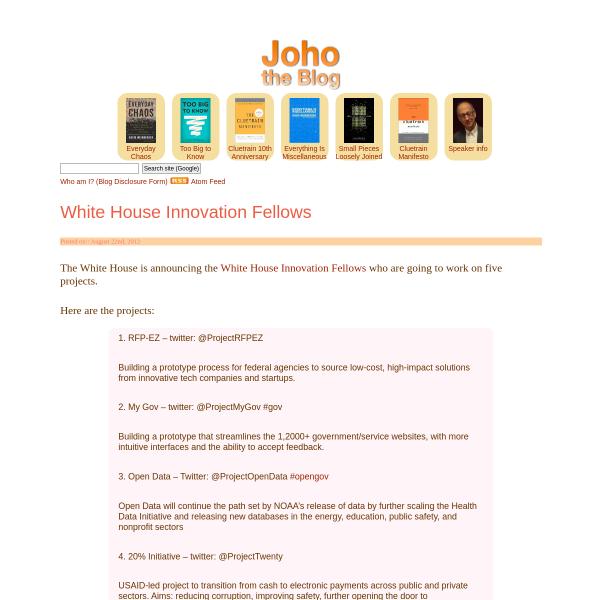 White House Innovation Fellows - Joho the Blog