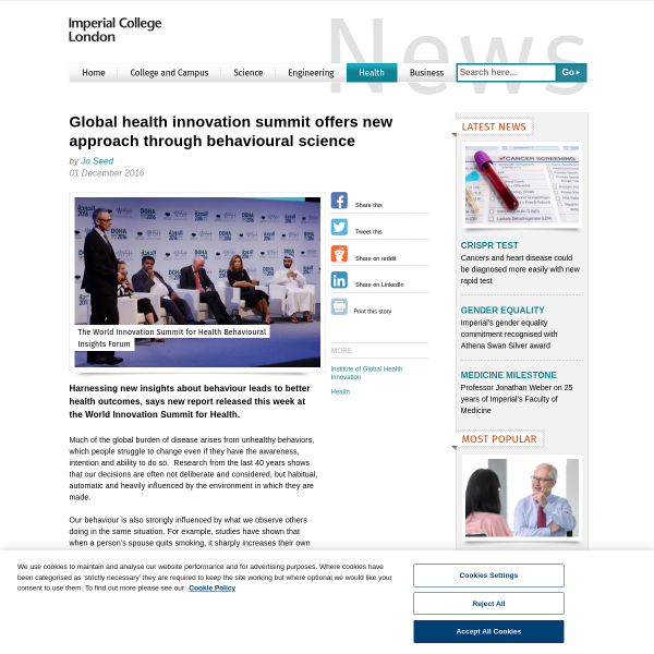 Global health innovation summit offers new approach through behavioural science - Imperial News - Imperial College London