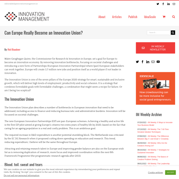 Can Europe Really Become an Innovation Union? - Innovation Management