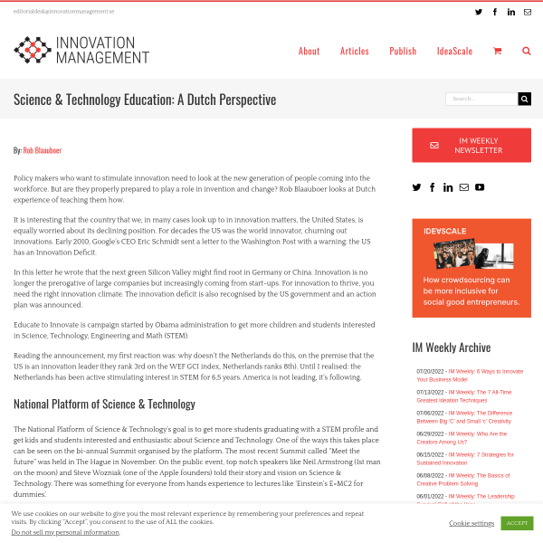 Science & Technology Education: A Dutch Perspective - Innovation Management