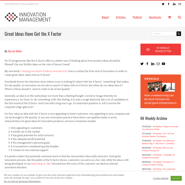 Great Ideas Have Got the X Factor - Innovation Management