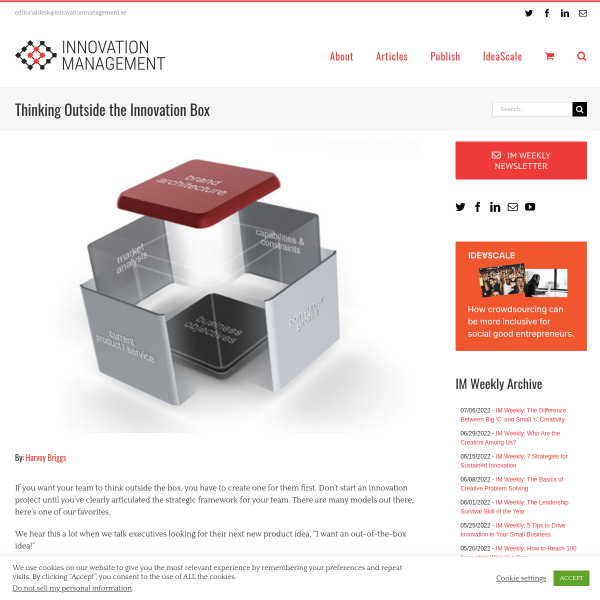 Thinking Outside the Innovation Box - Innovation Management