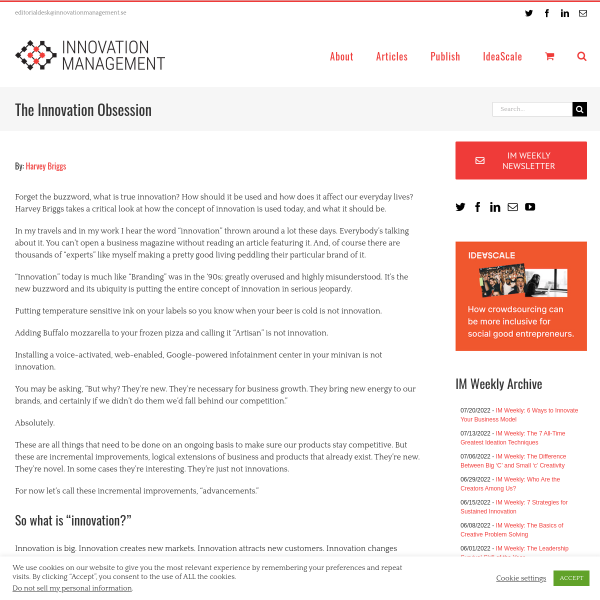 The Innovation Obsession - Innovation Management