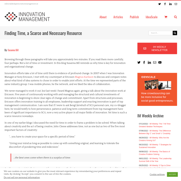 Finding Time, a Scarce and Necessary Resource - Innovation Management