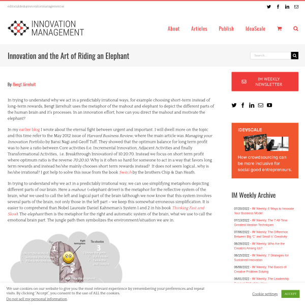 Innovation and the Art of Riding an Elephant - Innovation Management