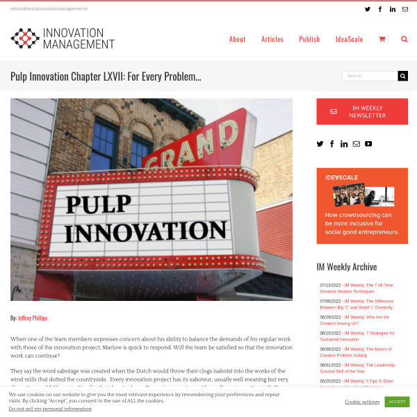 Pulp Innovation Chapter LXVII: For Every Problem… - Innovation Management