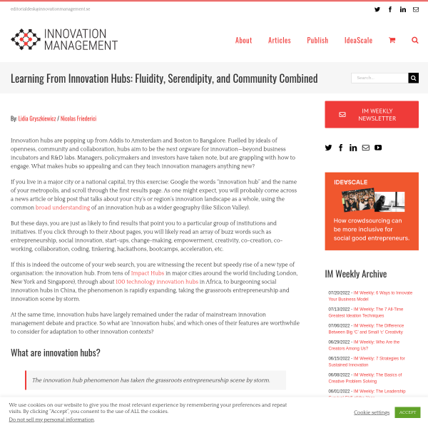 Learning From Innovation Hubs: Fluidity, Serendipity, and Community Combined - Innovation Management