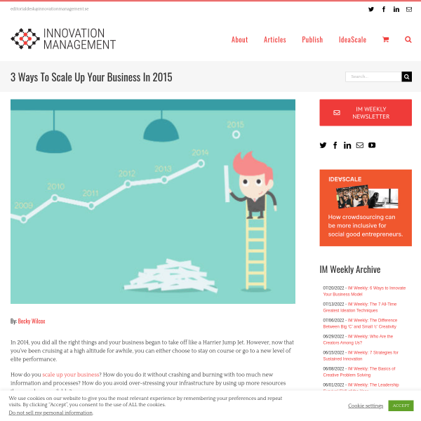 3 Ways To Scale Up Your Business In 2015 - Innovation Management