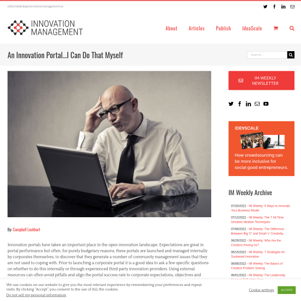 An Innovation Portal…I Can Do That Myself - Innovation Management
