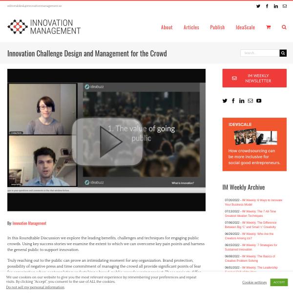 Innovation Challenge Design and Management for the Crowd - Innovation Management