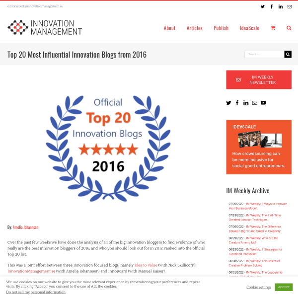 Top 20 Most Influential Innovation Blogs from 2016 - Innovation Management